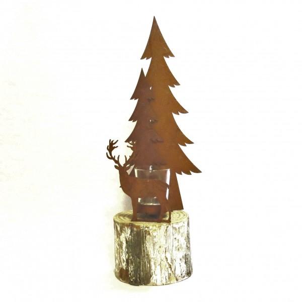 Teelichthalter Hirsch Wald Metall Holz Rost Natur Höhe 42 cm Gerry´s Garden